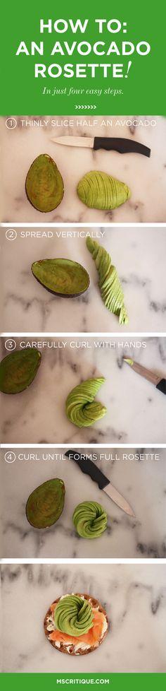 Will never go back to regular avocado again! Make an avocado rosette in 4 steps! From MsCritique