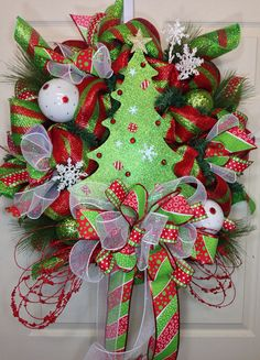 Christmas Mesh Wreath by WilliamsFloral on Etsy, $115.00
