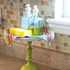 cake stand for soap in bathroom