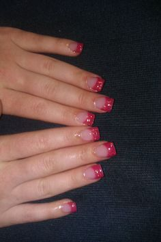 Acrylic nails I did w pink glitter tips.  Fun for Valentines Day