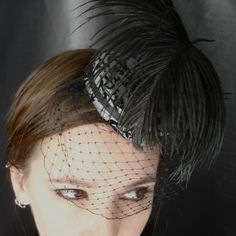Black Mini Pillbox Hat with Ostrich Feather and Black Netting