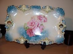 "RS Prussia11 5/8"" x 7 1/2"" Marked Star w/Wreath Aqua Tray Platter Pink Roses   eBay"