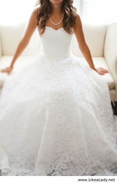 Wedding dress with lace...if I were ever to full out renew my vows. Damn you Pinterest. Where were you 7 years ago??