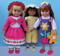 "American Girl 18"" Doll Crochet Clothing Patterns fits American Girl, Springfield, Syndee, etc."