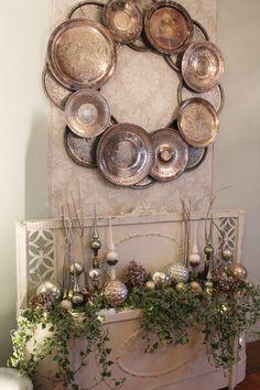 Silverplate Trays Wreath