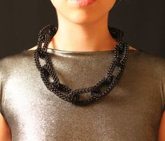 Black Chain Necklace  by Sky Cubacub