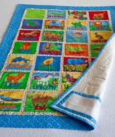 blue border craft quilt, alphabet quilt, blue border
