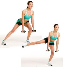 One-Legged Lunge w/ Lift: Stand with feet hip-width apart; hold a dumbbell in each hand with arms straight and palms facing in. Step your left leg out to the side, and bend your left knee to lower into a side lunge; hinge slightly forward at the waist. Straighten your left knee as you lift your right leg straight out to the side—you should still be leaning forward. Return to previous position, then to standing. Repeat on the opposite side. Do entire sequence 10 times. #total_body #workout