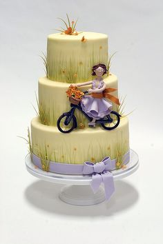 Woman on Bicycle Cake by studiocake, via Flickr - simple look but oh so cute! bicycles, cake inspir, bike cake, amaz cakescupcakes7, parti cake, bicycl cake, cake decor, party cakes, birthday cakes