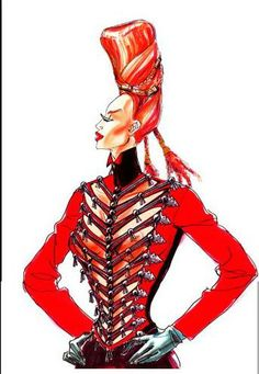 """1989 - Jean Paul Gaultier sketch - Costume for """"The Cook the Thief His Wife  Her Lover costume"""" a Peter Greenaway Movie"""