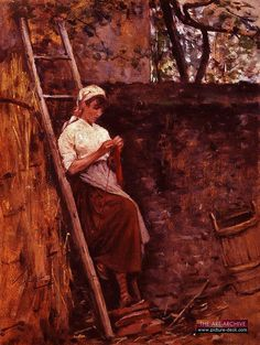 silvestro lega - woman knitting - 1826-95 by sharkseason, via Flickr