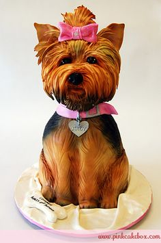 Pink Cake Box - Yorkie Rehearsal Cake This little one has a pink bow with rhinestones in her hair and a pink collar around her neck with a silver heart tag. Birthday, Dog Cakes, Yorkie, Grooms Cake, Amazing Cake, Cake Boxes, Yorkshire Terriers, Dogs Cake, Pink Cake
