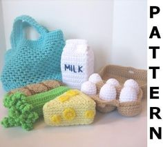 Grocery Shopping Play Food Crochet Pattern - finished items made from pattern may be sold. $5.00, via Etsy.