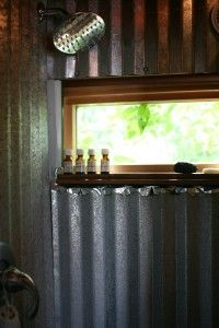 Corrugated tin walls inside the bathroom and shower?  You have my attention.