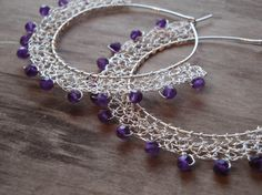 ooh i could do this on non-pierced loop earrings. wire crochet sterling silver earrings amethyst by katerinaki1977, $54.00