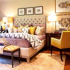 Master Bedroom - tufted headboard - perfect balance of solids and prints