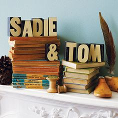 Love typography as bookends. Wooden Letter Printer Blocks by Sage, InspiredbyLife