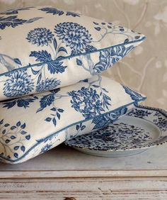 Blue floral pillows