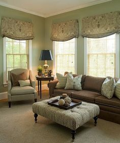 Fabulous Window Treatments & I Love This Ottoman Coffee Table Substitute <3