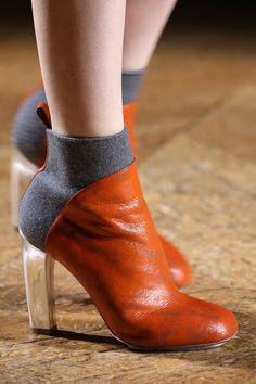 Dries Van Noten | Fall 2014 | felt, leather and metallic boots #mizustyle