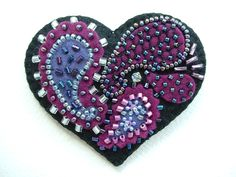 Beaded Felt  Heart - paisley 3