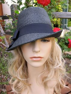 Unbalance Brim Black Fedora with Bow by EMarieDesignsShop on Etsy, $32.00