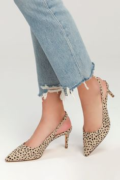 Cute Cheetah Pumps - Beige and Black Pumps - Slingback Pumps