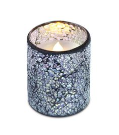 LED Mosaic Candle #crackle #silver #timer
