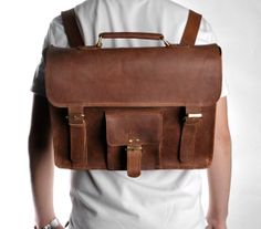 Men's Vintage Handmade Leather Briefcase 15.6 by camerasbagstraps, $129.00