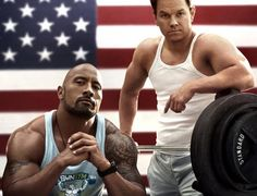 Pain & Gain: Dwayne Johnson and Mark Wahlberg workout.