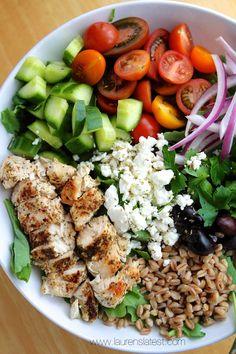 farro salad, food, healthi, kale greek, eat, kale salad, salads, chop greek, greek salad