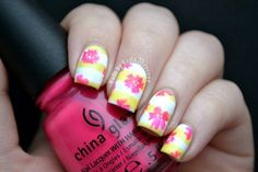 fun summer nails flowers, floral nail, color, summer floral, nail arts, flower power, flower nail, design, tropical flowers
