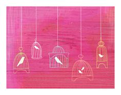 bird cages pink
