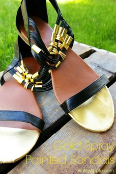 spray painted sandals - BrassyApple.com #refashion #upcycle