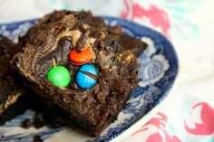 Fudgy M&Ms Brownies with a Peanut Butter Swirl http://www.restlesschipotle.com/2014/08/fudgy-mms-brownies-with-a-peanut-butter-swirl/