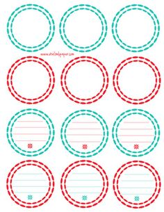 Red and teal canning labels.