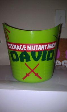 Personalized Teenage Mutant Ninja Turtle Bucket vinyl. $8.00, via Etsy.