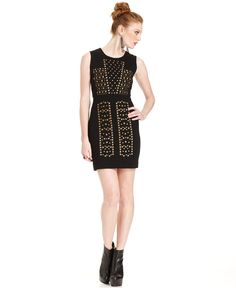 Bar III Front Row Dress, Sleeveless Studded Sheath - Womens Dresses - Macy's