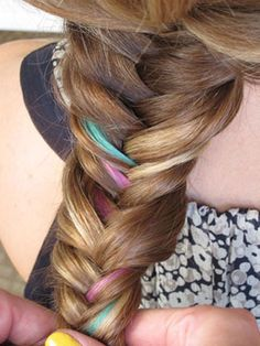 Summer hair. Fishtail braid with pastel extensions.