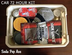 72 Hour Kits to keep in your car - a full list of items to include that you can easily download.  www.SodaPopAve.com