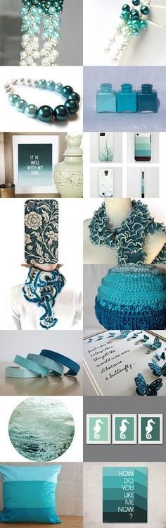 Teal, Teal and More Teal! by Jenn Surprenant on Etsy--Pinned with TreasuryPin.com