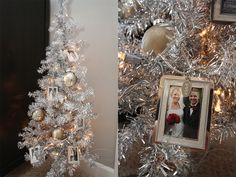 calendar tree with picture frame ornaments for each year