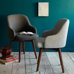 ~$350 - Saddle Office Chair #WestElm wall colors, office designs, blue walls, paint colors, wall colours, office chairs, home offices, desk chairs, west elm