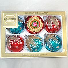 Box Lanissa 1950s Red Blue Mica Glitter Christmas Ornaments