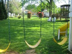 This isn't our backyard but Haylee and I love to be outside on our swings.