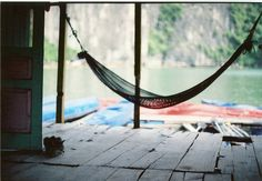 in a hammock by the water
