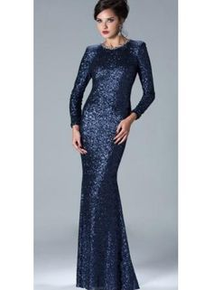 Wholesale 2013 Sheath Long Evening Dresses Sequins Long Sleeves Prom Dress 2946