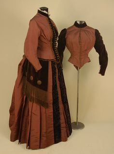 SILK and VELVET BUSTLE DRESS with TWO BODICES, c. 1885 (side)