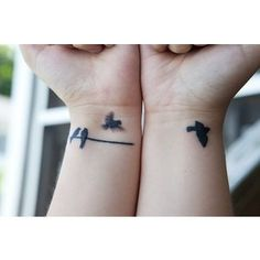 I could see this as our best friends tattoo..  You, who is more outgoing, get the one on the line to remind you of me - giving you a place to land sometimes. As I, the more shy one, get the flying birds as a reminder of you.. to serve as inspiration to fly on my own, figuratively speaking.