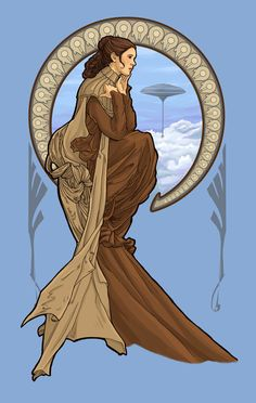 Cloud City Leia in the style of Mucha!